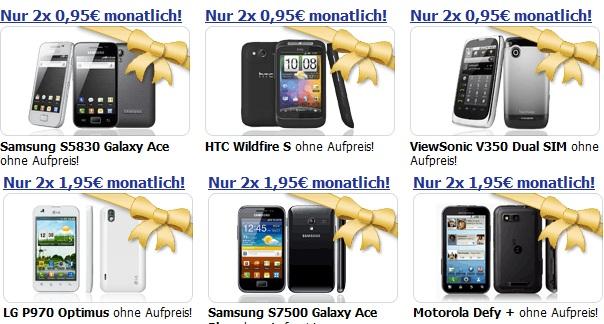 Smartphones für 0€ Zuzahlung + 2x 0,95€/Monat (durch 504€ Auszahlung und etwas Arbeit)