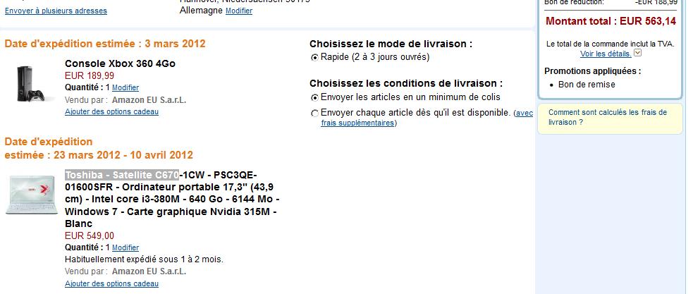 [Amazon.fr] Notebook von der Angebotsseite kaufen und Xbox 360 4go kostenlos bekommen!