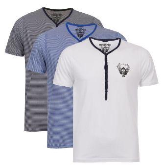 [the hut] 3er Pack Ringspun Meteor Short Sleeve Grandad T Shirts für 19,25€ & Kangol Mens Kev Buttoned V Neck Jumper für 16,84€