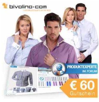 [iBOOD] € 60 Gutschein: Maßhemd oder eine Maßbluse von Bivolino.com inkl. Versand 29,95€