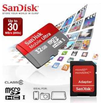 [iBOOD] Micro SDHC Speicherkarte: SanDisk 32GB Mobile Ultra mit bis zu 30MB/s inkl. SD Adapter und Versand 35,90€