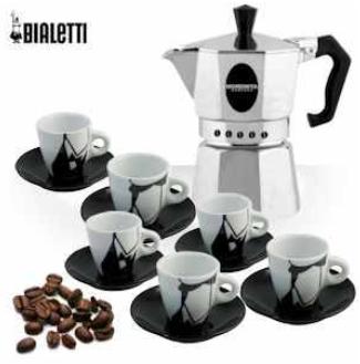 "[iBOOD] Espressokocher: Bialetti Morenita mit 6 teiligem Tassenset ""Puzzle"" inkl. Versand 25,90€"
