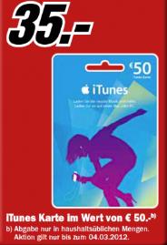 [MediaMarkt] Tipp! iTunes: Bis zum 04.03. Apple iTunes 50€ Karten für nur 35€