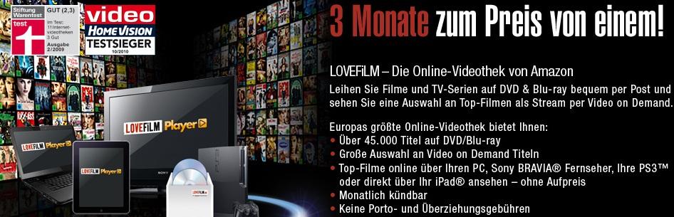 [Tipp!] 3 Monate Lovefilm testen und nur 1 Monat bezahlen! (oder 30 Tage komplett Kostenlos!)