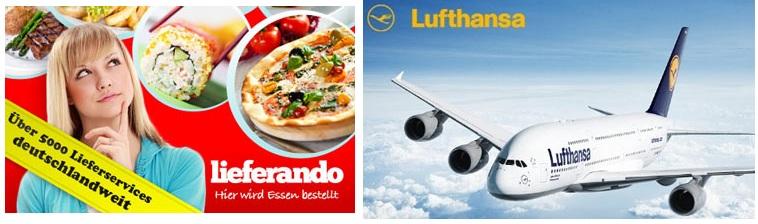 [Gutscheine!] 40€ Lufthansa Gutschein für 10€ & 16€ lieferando Gutschein für 6,80€