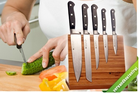 [Groupon] Katahiro Kubota   6 teiliges Messer Set mit Magnetständer aus Bambus Holz für nur 99€ (Vergleich: 445€!!!)