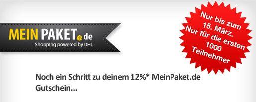 [meinpaket.de] Vorbei! Facebook Aktion: 12% Gutschein für die ersten 1000 Teilnehmer!