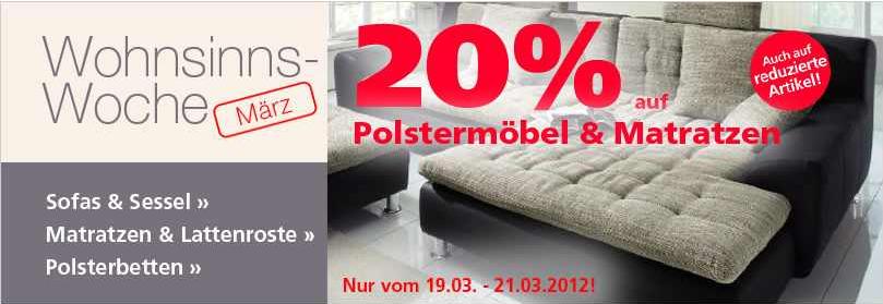 [Neckermann] Wohnsinnswoche! 20% Rabatt auf Polstermöbel und Matratzen, auch auf reduzierte Artikel!