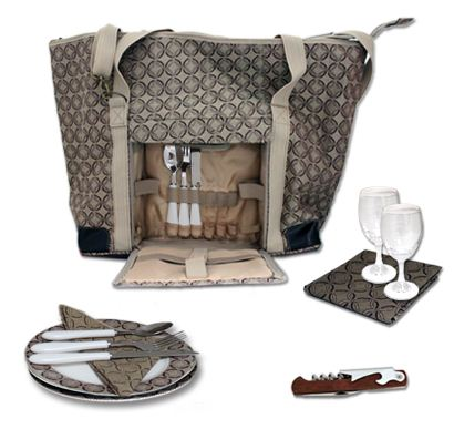 [eBay] Picknicktasche für 2 Personen inkl. allem Zubehör (Tasche, Besteck, Gläser, Teller) für nur 14,90€