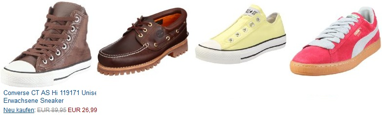 Schuh Sale bei Amazon mit bis zu 74% Rabatt