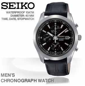 [iBOOD] Kracher! Herren Chronograph: Seiko in Schwarz und Silber mit Datumsanzeige und inkl. Versand 135,90€ (Vergleich 215€)