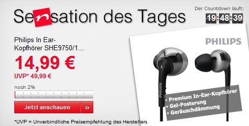 [Neckermann] Schnell sein: 2x Philips In Ear Kopfhörer SHE9750/10 für nur 25,93€ inkl. Versand (Vergleich: 50€)