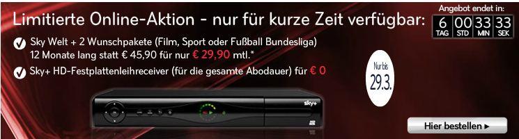 [SKY] Online Aktion bis Donnerstag: Sky Welt und 2 Wunschpakete inkl. Receiver monatl. 29,90€ (statt 45,90€)