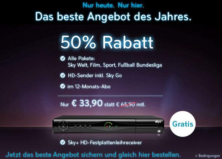 [Nur noch heute!] Das beste SKY Angebot des Jahres   alle Pakete nur 33,90€ im Monat   50% Rabatt!