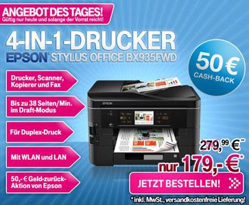 [Druckerschnäppchen] Epson Stylus Office BX935FWD für nur 129€ inkl. Versand (dank 50€ Cashback!) (Vergleich: 193€)