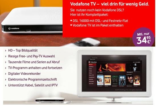 [Exklusiv!] Vodafone TV nur 22,03€ monatlich effektiv (statt 34,95€) ähnlich wie Telekom Entertain (+HD Sender)