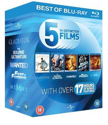 Blu Ray Starter Pack (mit 5 Filmen) Gladiator, The Bourne Ultimatum und mehr für 9,30€