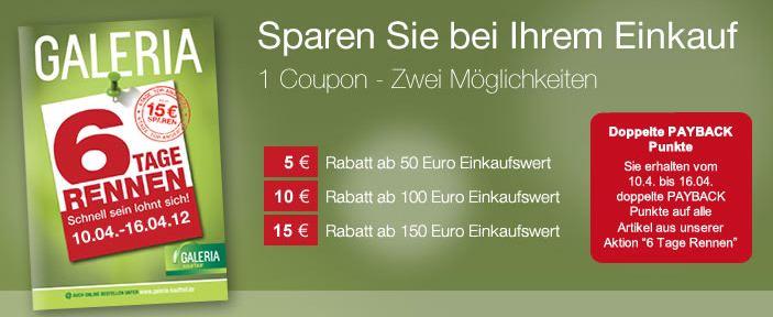 [Kaufhof] 6 Tage Rennen: jeden Tag neue Angebote + 5 bis 15€ Rabatt + VSK frei ab 15€