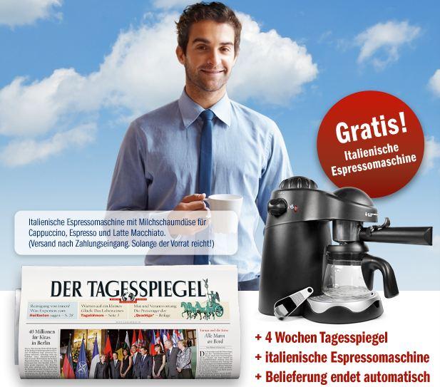 [mini Abo] 4 Wochen Tagesspiegel lesen und eine Espressomaschine sichern 20,65€ (Selbstkündigend)