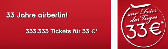 [airberlin] Jetzt Online: 33.333 Tickets für 33€ zum 30 jährigen Jubiläum