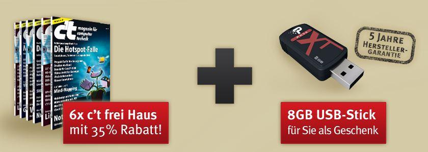 [Abo] 6x ct + 8GB USB Stick Xporter XT Rage für nur 15,20€