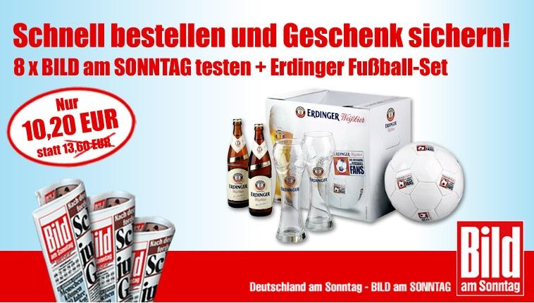 [Top!!!] 8x BILD am Sonntag nach Hause geliefert + Erdinger Fußball Set nur 10,20€