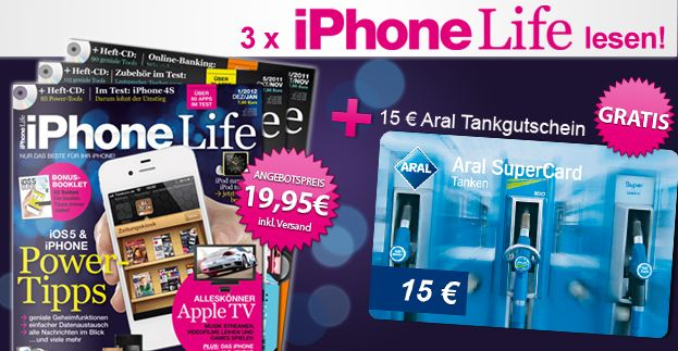 [Mini Abo] 3x iPhone Life Magazin für 19,95€ + 15€ Aral Tankgutschein