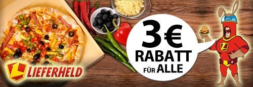 Günstige Pizza, Pasta…etc. durch 3€ Lieferheld Gutscheincode mit nur 9€ MBW