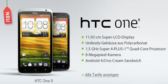 [Sparhandy] HTC One X für 119€ + o2 Blue M Allnet Flatrate für 39,99€/Monat