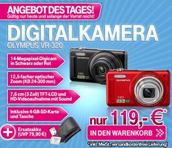 [T Online] Olympus VR 320 in schwarz oder rot + Tasche + 4GB SD + Ersatzakku für nur 119€ inkl. Versand (Vergleich: 150€)