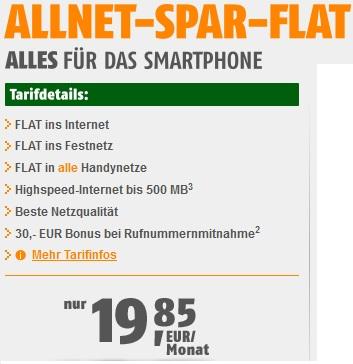 Allnet Flat Schnäppchen! Flat in alle Netze (Mobil & Festnetz) + Internet Flatrate nur 19,85€/Monat