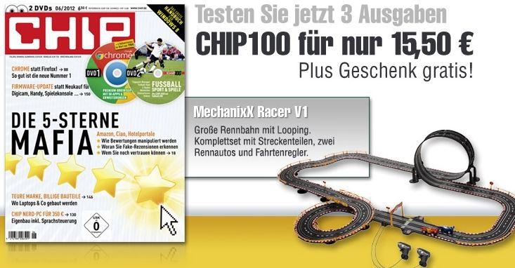 [Miniabo] Magclub: 3 Ausgaben CHIP100 für nur 15,50€ testen und MechanixX Racer V1 gratis bekommen.
