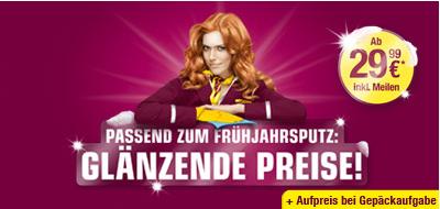 OneWay Germanwings Tickets inkl. Steuern und Gebühren für je 29,99€