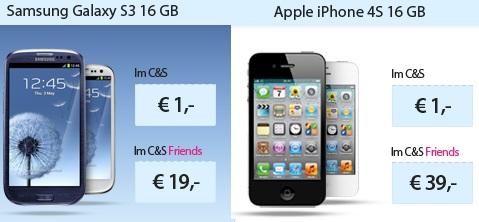 [*UPDATE] Das neue Samsung Galaxy S3 nur 1€ + t Mobile Call & Surf für 29,95€/Monat (iPhone 4s 1€)