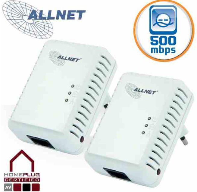 [iBOOD] Powerline Adapter Set: Allnet 500Mbit HomePlugAV, Mini Ethernet, Adapter Starter Kit inkl. Versand 45,90€