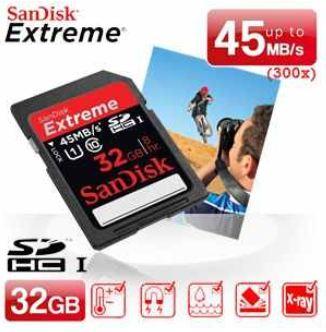 SDHC Speicherkarte: SanDisk 32GB Extreme (Class 10) mit bis zu 45MB/s inkl. Versand 25,90€
