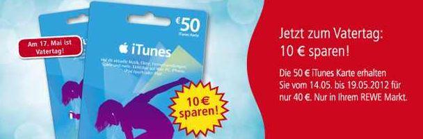[REWE Offline] Tipp! Apple iTunes: Bis zum Samstag 50€ Karten für nur 40€!