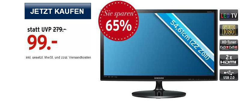[Karstadt Liveshopping] 22er FullHD TV: Samsung SyncMaster LED (1B Ware) inkl. Versand 103,95€