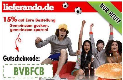 [Pokalfinale] Lieferando ab 18:ooUhr: 15% Rabatt auf eure Bestellungen (20MBW)!