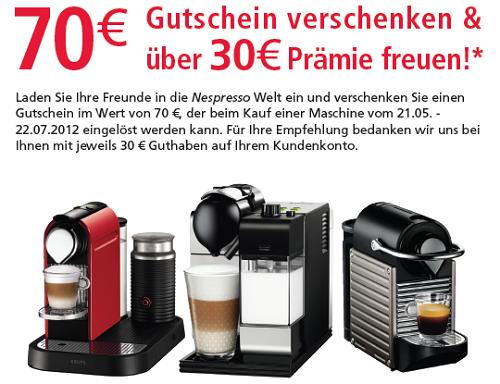 [Nespresso] 70€ Kapsel Guthaben für Neukunden, 30€ für Werber
