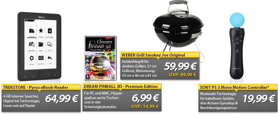 Neue Oha Deals! (Weber Grill, Trekstore eBookreader, PS3 Move Controller)