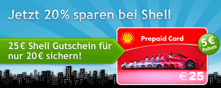 25€ Shell Gutschein/Card für 20€ über Quicker