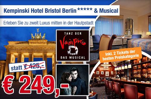 [ab in den urlaub] Übernachtung im Doppelzimmer 5 Sterne Kempinski Hotel Bristol Berlin + Musical Karten für 2 für 249,  Euro