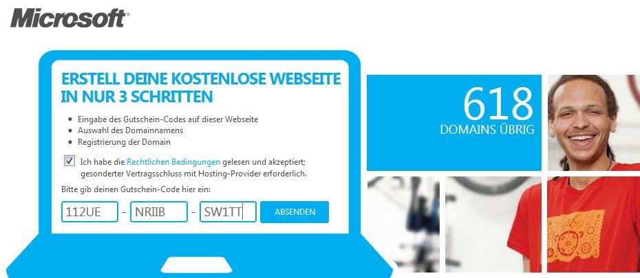 [Kostenlos] Schnell sein: Microsoft verschenkt kostenlosen Webspace und .de Domain für 1 Jahr!