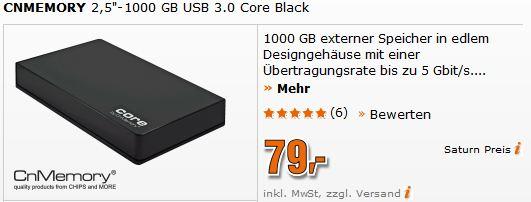 [Saturn] Montagsangebot: 2.5 ext. Festplatte 1TB, USB3, 79€ bereits jetzt Online bestellbar!