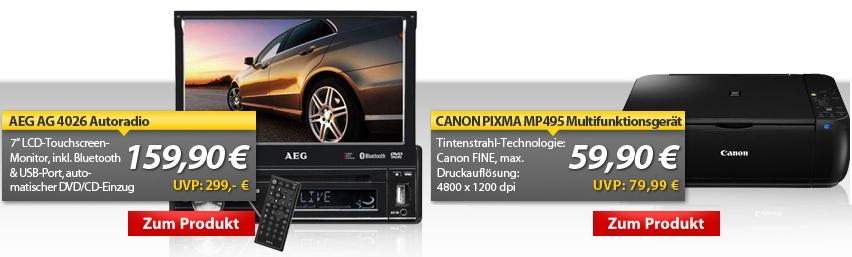 OHA Deals! CANON PIXMA MP495 Multifunktionsgerät & AEG Autoradio mit 7 Monitor