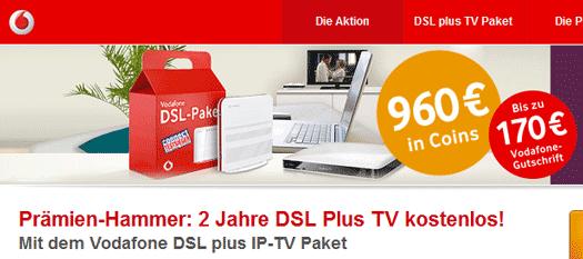 [Kracher!] Vodafone DSL + TV dank Cashback in hier gibts was geschenkt Coins 2 Jahre lang gratis!