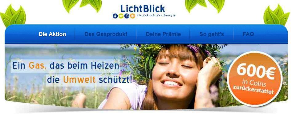 [HGWG] 6 Monate Lichtblick Gas, durch Rückererstattung effektive Gratis bis max. 600€!