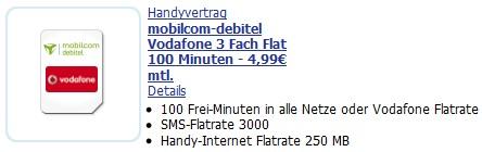 Vodafone 3 Fach Flat (100 Freiminuten + 3000 SMS + Inet Flat) nur 4,99€/Monat effektiv