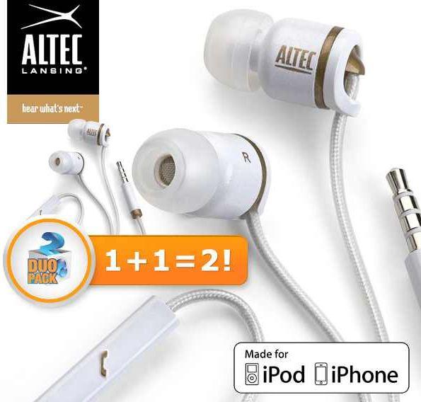 [iBOOD] In Ear Kopfhörer: Doppelpack Altec Lansing Muzx Core mit Geräuschisolierung, inkl. Versand 25,90€